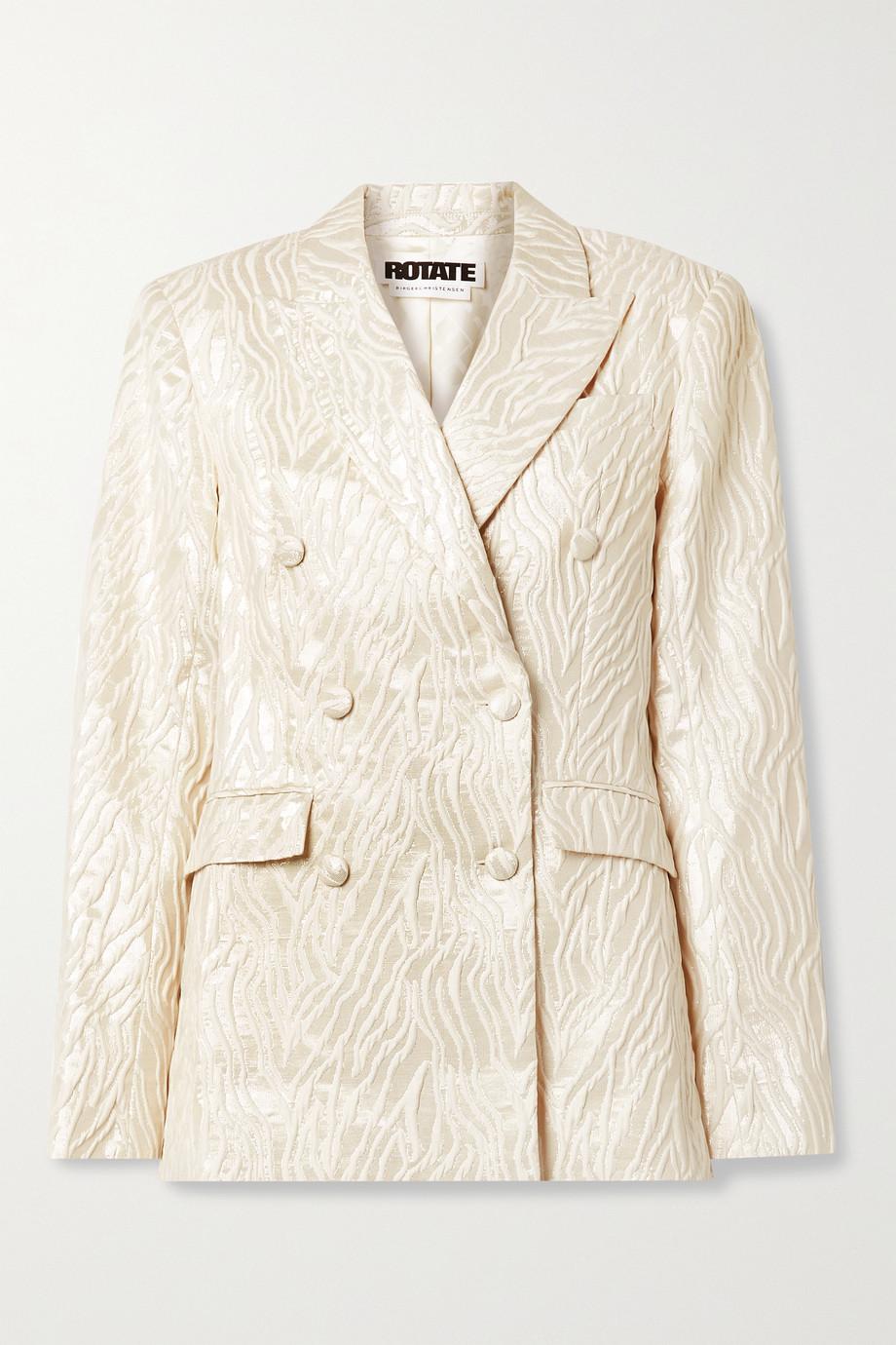 ROTATE Birger Christensen Augustina double-breasted metallic jacquard blazer
