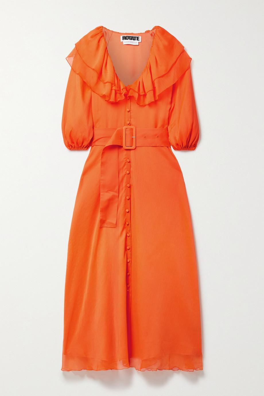 ROTATE Birger Christensen Ellie belted ruffled recycled chiffon midi dress
