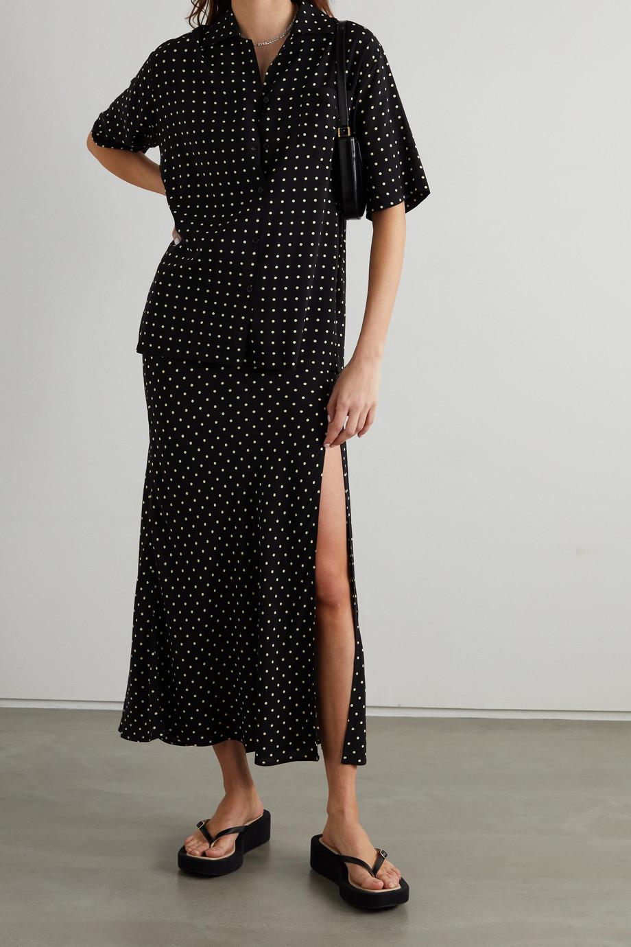 ROTATE Birger Christensen Avery polka-dot crepe shirt