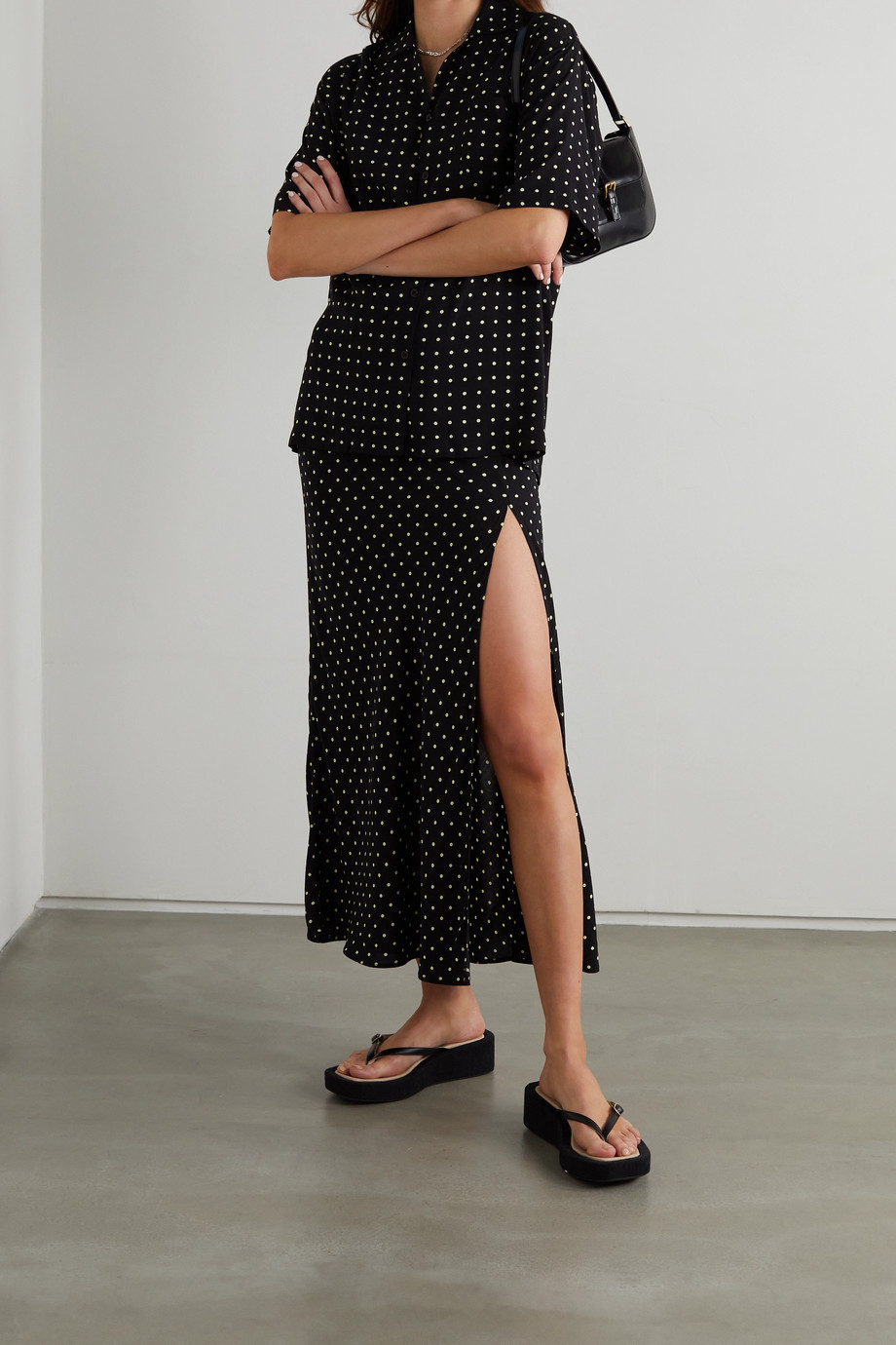 ROTATE Birger Christensen Camara polka-dot crepe midi skirt