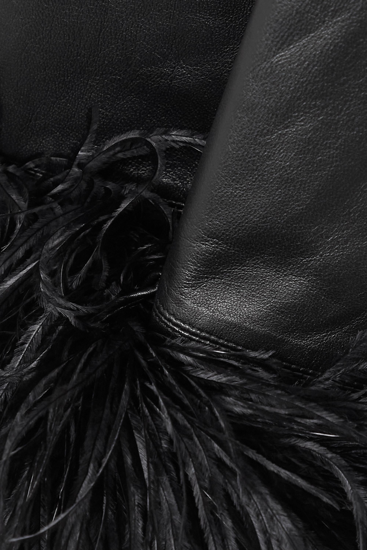 16ARLINGTON Michelle feather-trimmed leather mini dress