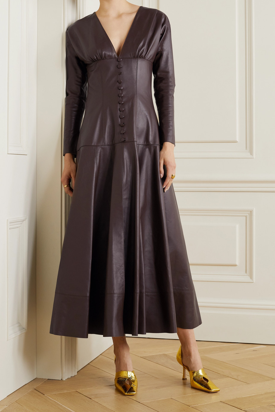 16ARLINGTON Daylily leather maxi dress