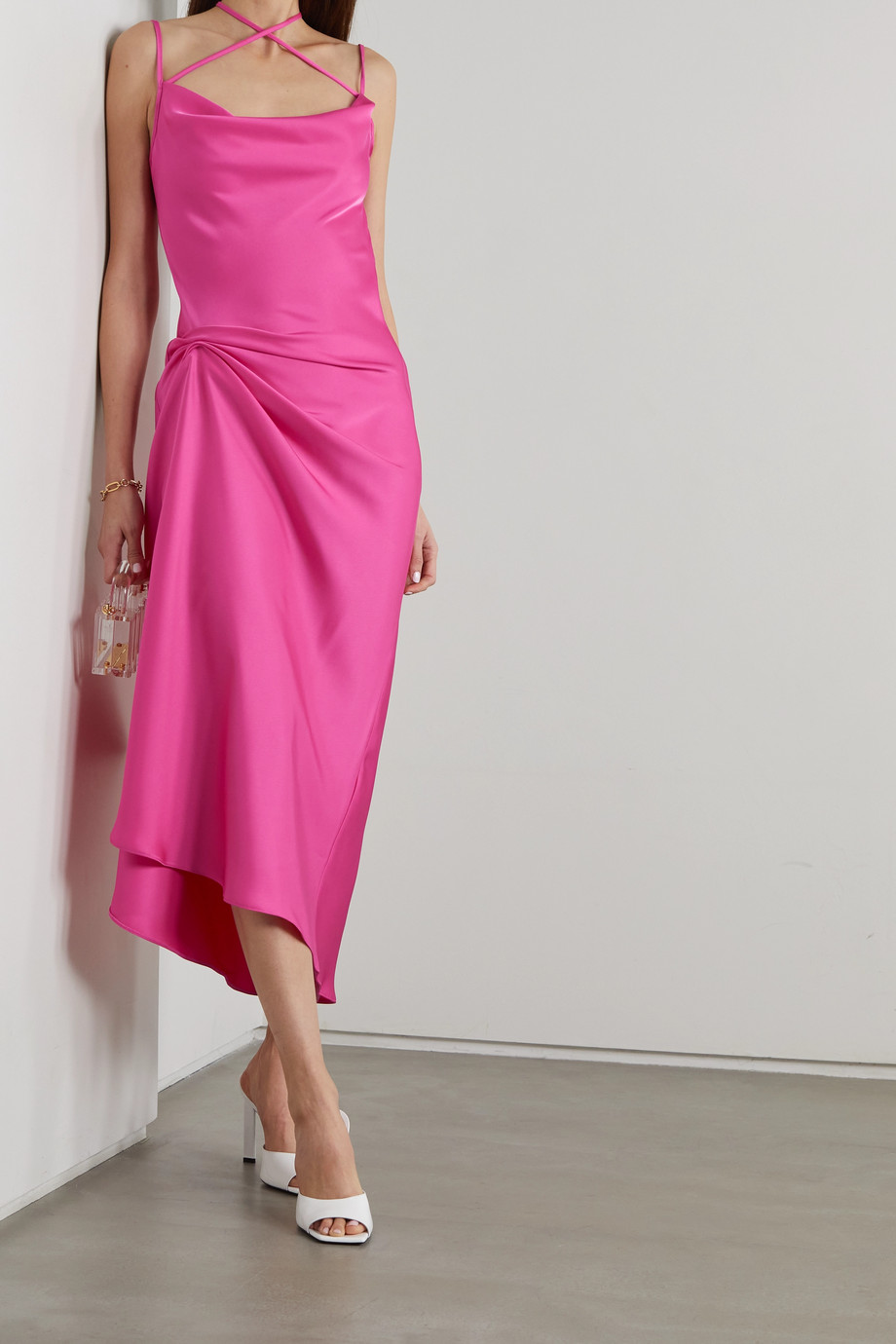 16ARLINGTON Medina draped satin midi dress
