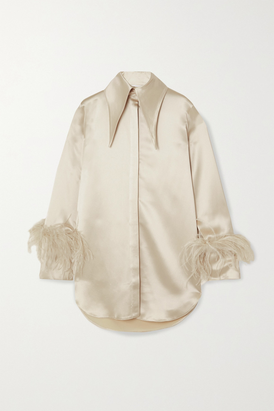 16ARLINGTON Seymour feather-trimmed satin shirt