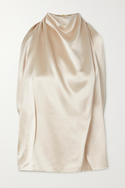 16ARLINGTON Tana draped satin halterneck top