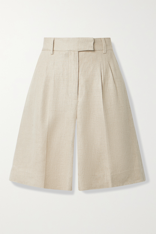 REMAIN Birger Christensen Kit pleated linen shorts