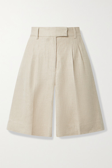 REMAIN Birger Christensen - Kit Pleated Linen Shorts - Beige