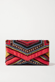Dries Van Noten Embellished embroidered satin clutch