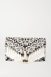Dries Van Noten Tasseled embroidered poplin clutch
