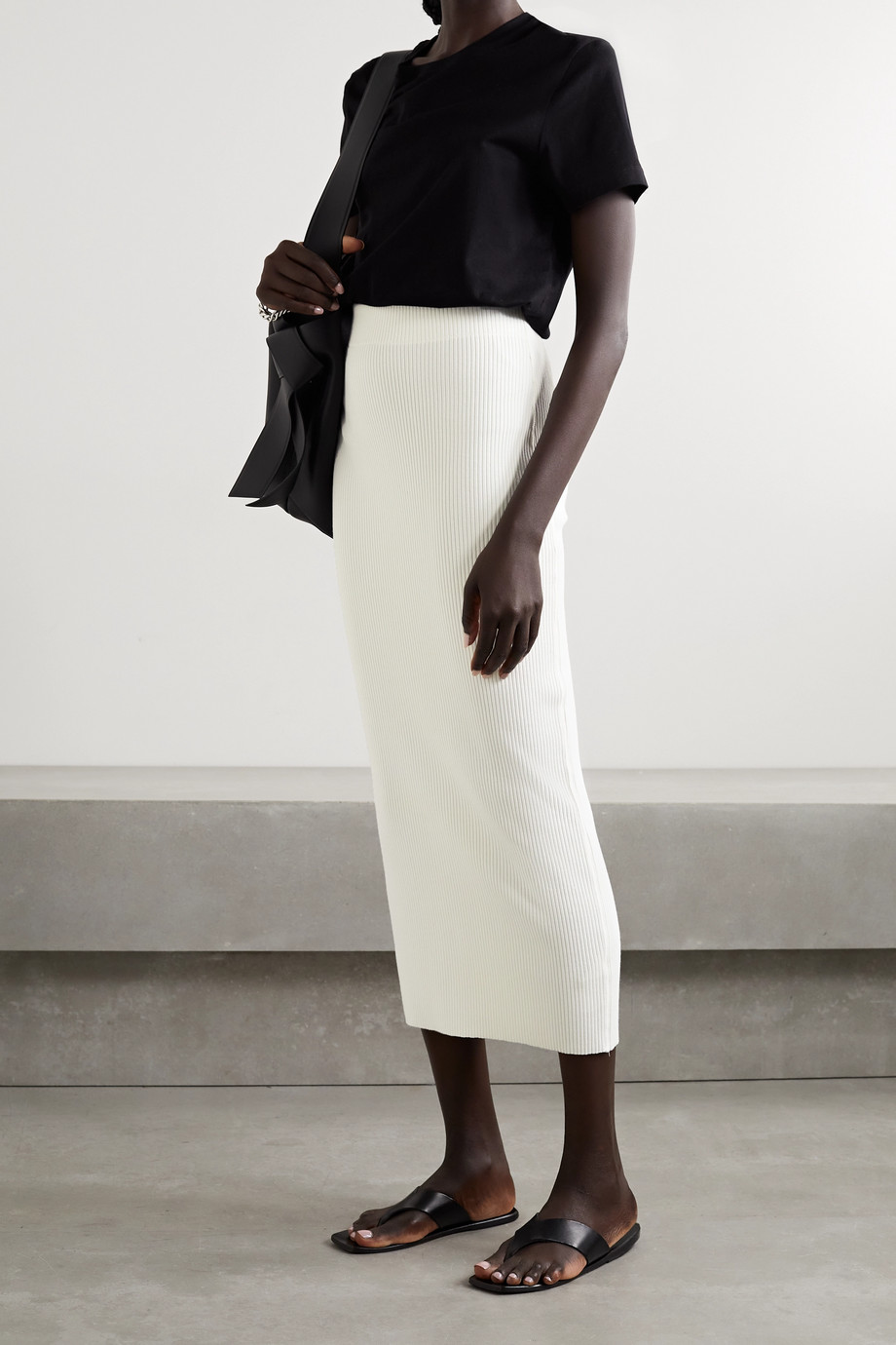 Vince Ribbed-knit midi skirt