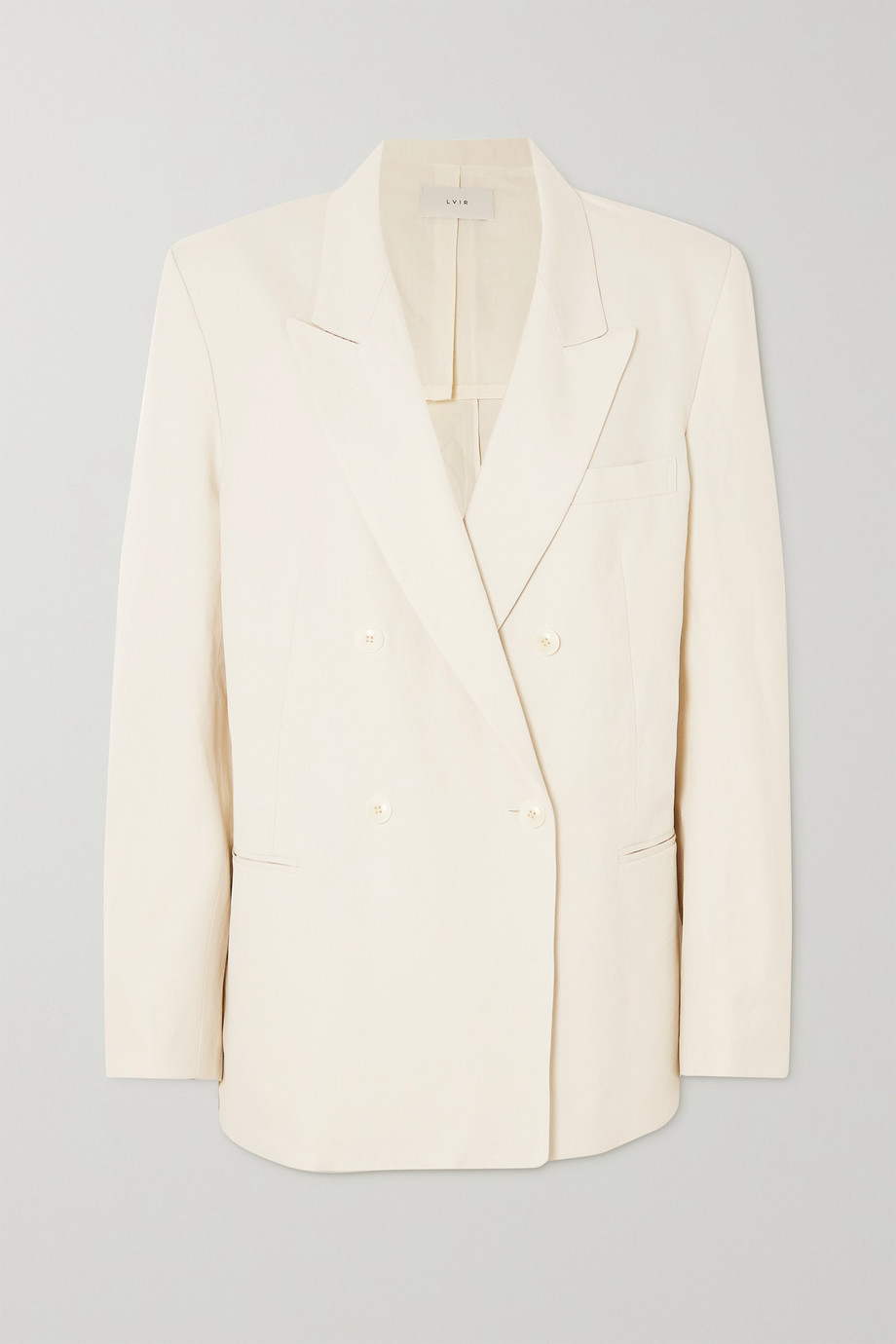 LVIR Double-breasted cotton and linen-blend blazer