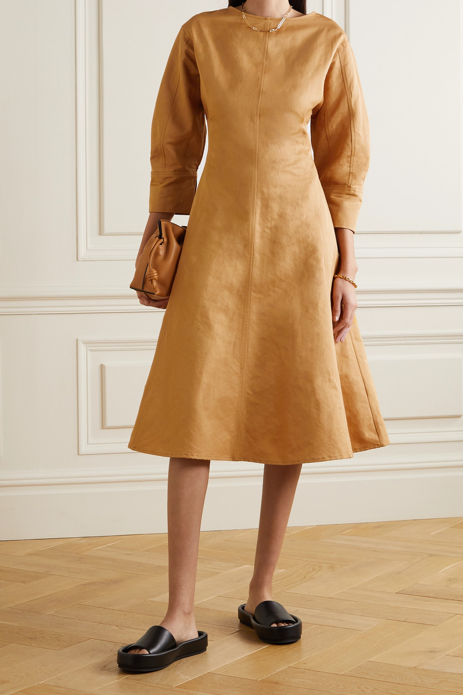 LVIR Paneled linen and cotton-blend midi dress