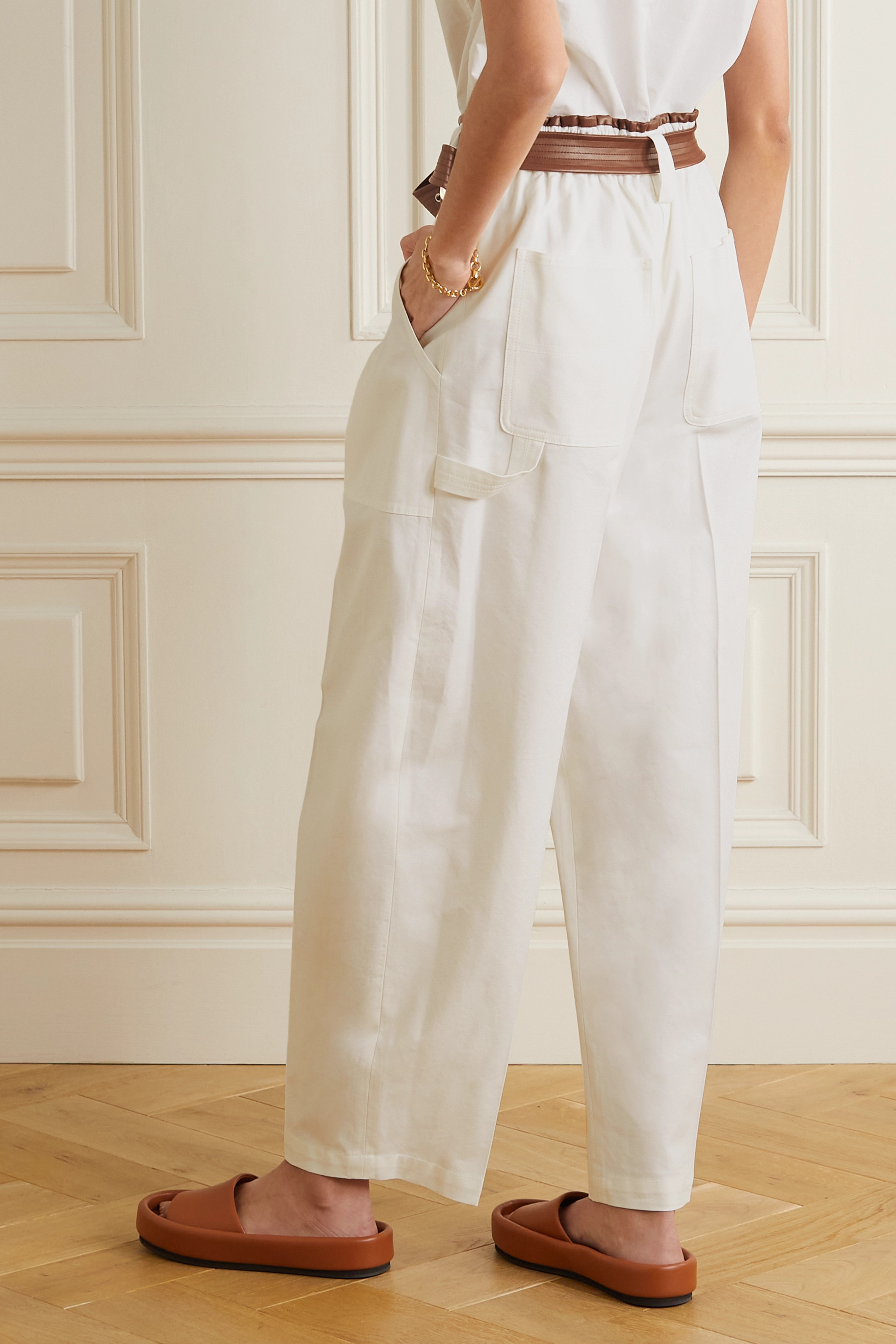 LVIR Belted faux leather-trimmed cotton-twill straight-leg pants