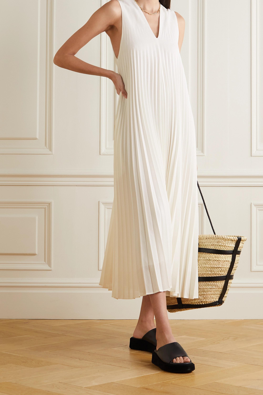 LVIR Pleated grain de poudre midi dress