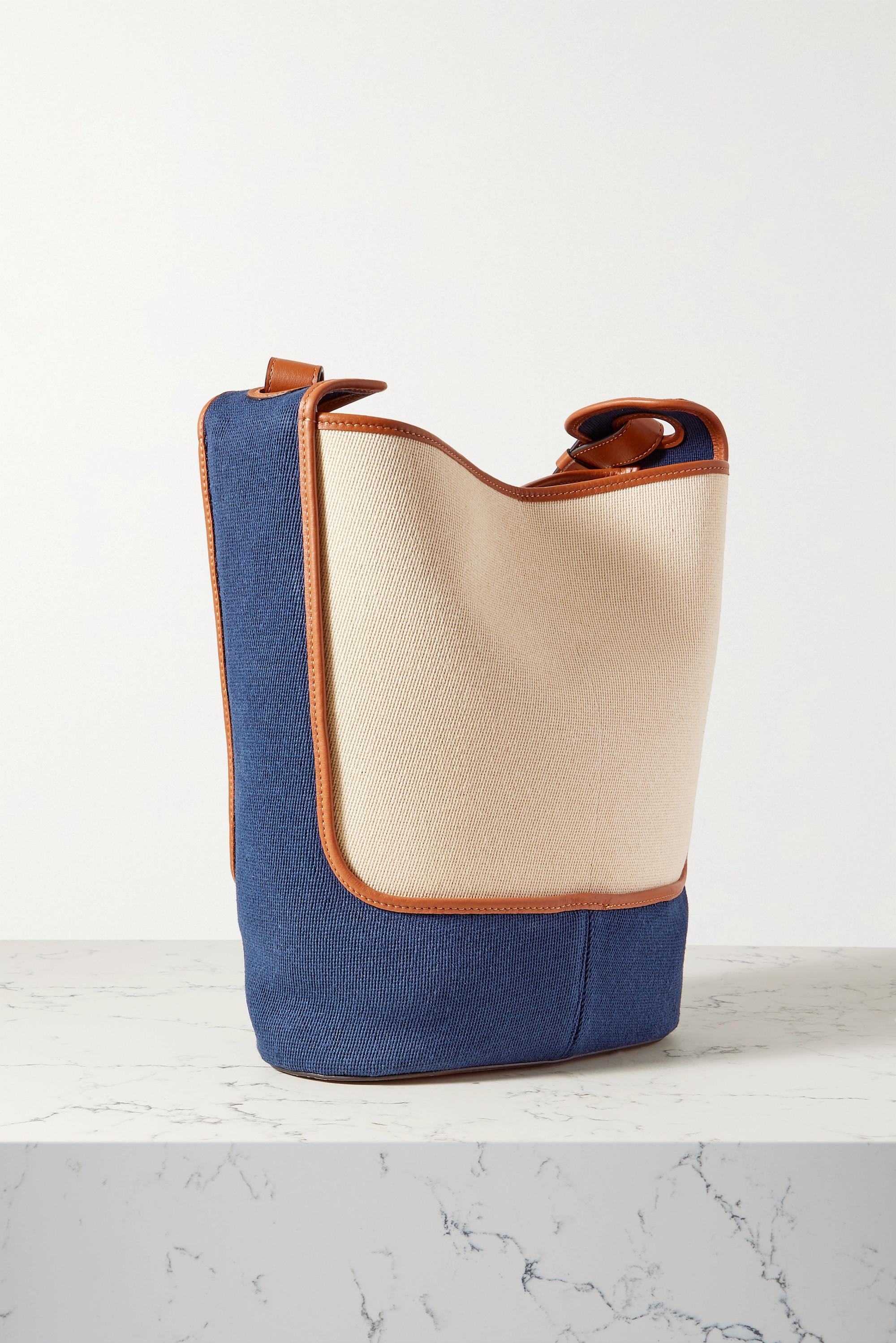 Loewe + Paula's Ibiza Balloon Hobo leather-trimmed cotton-canvas shoulder bag