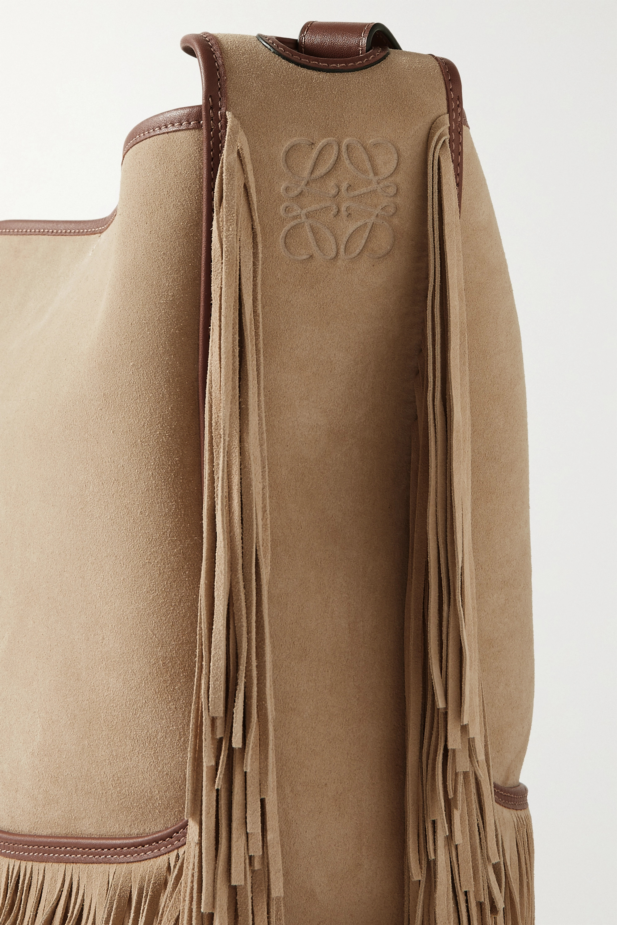 Loewe + Paula's Ibiza Balloon leather-trimmed fringed suede bucket bag