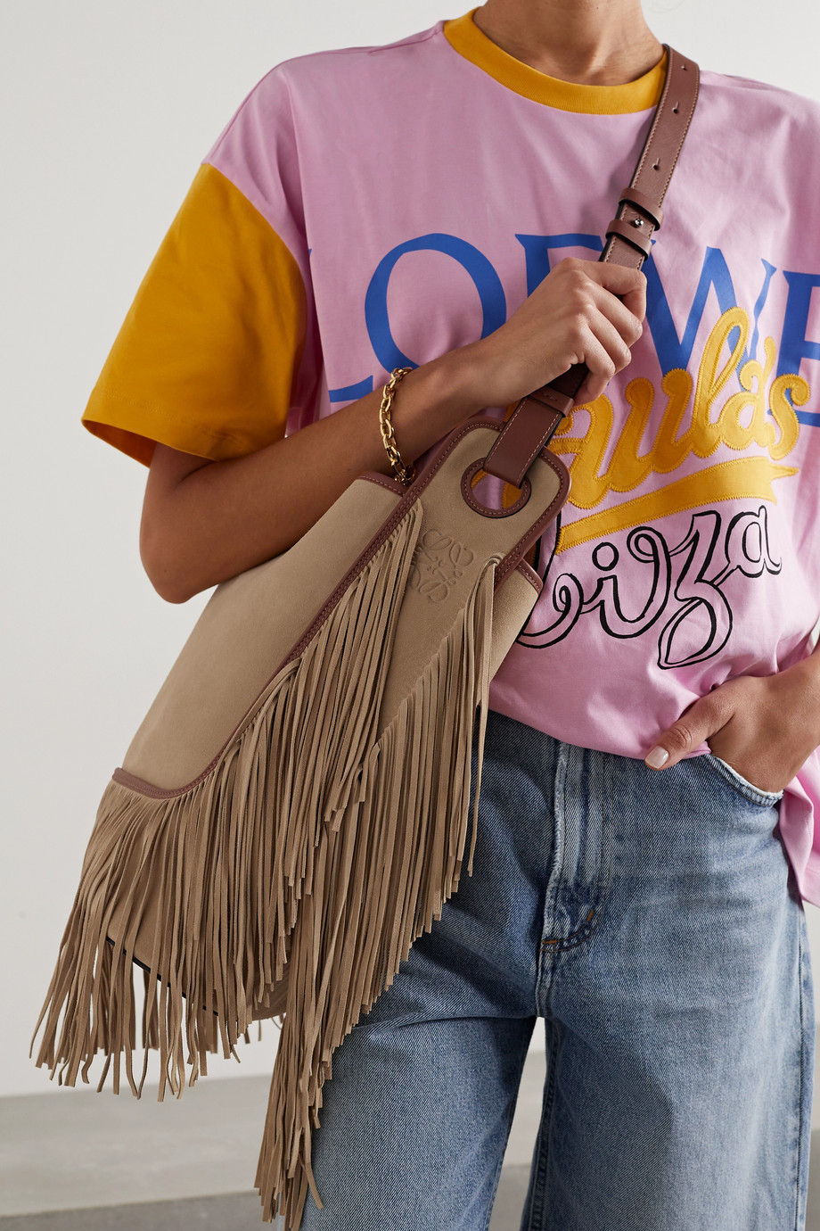 Loewe + Paula's Ibiza Balloon leather-trimmed fringed suede bucket bag