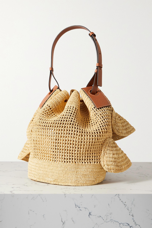 Loewe + Paula's Ibiza Balloon ruffled leather-trimmed raffia shoulder bag