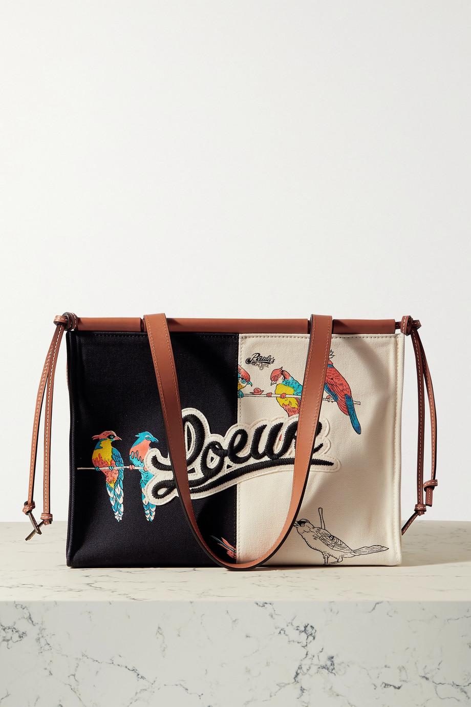 Loewe + Paula's Ibiza Cushion kleine Tote aus Canvas mit Lederbesätzen und Applikation