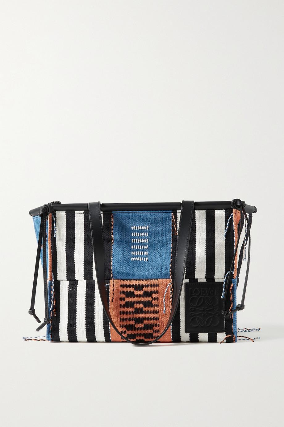Loewe + Paula's Ibiza Cushion Tote aus Canvas in Patchwork-Optik mit Lederbesatz