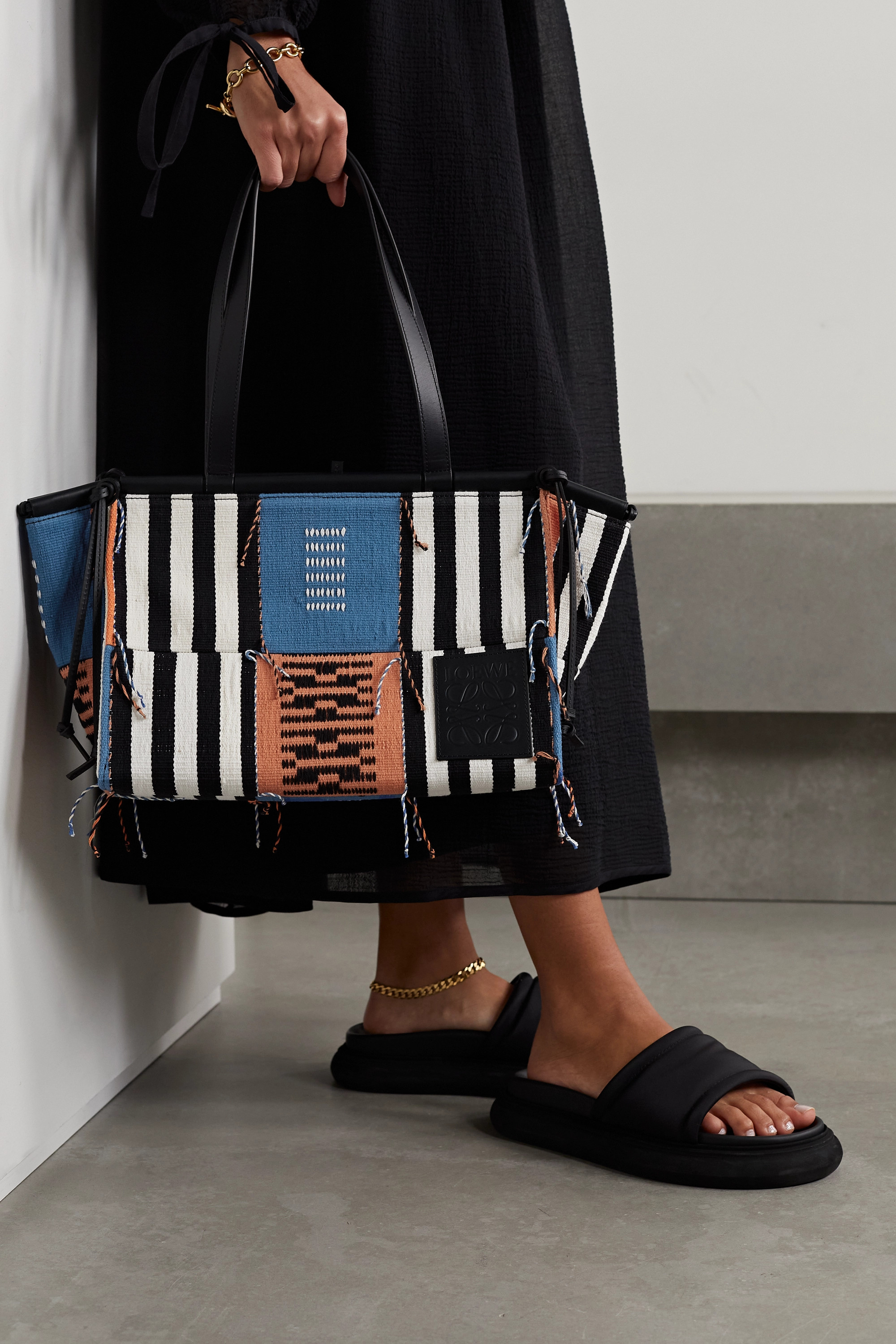 Loewe + Paula's Ibiza Cushion leather-trimmed patchwork canvas tote
