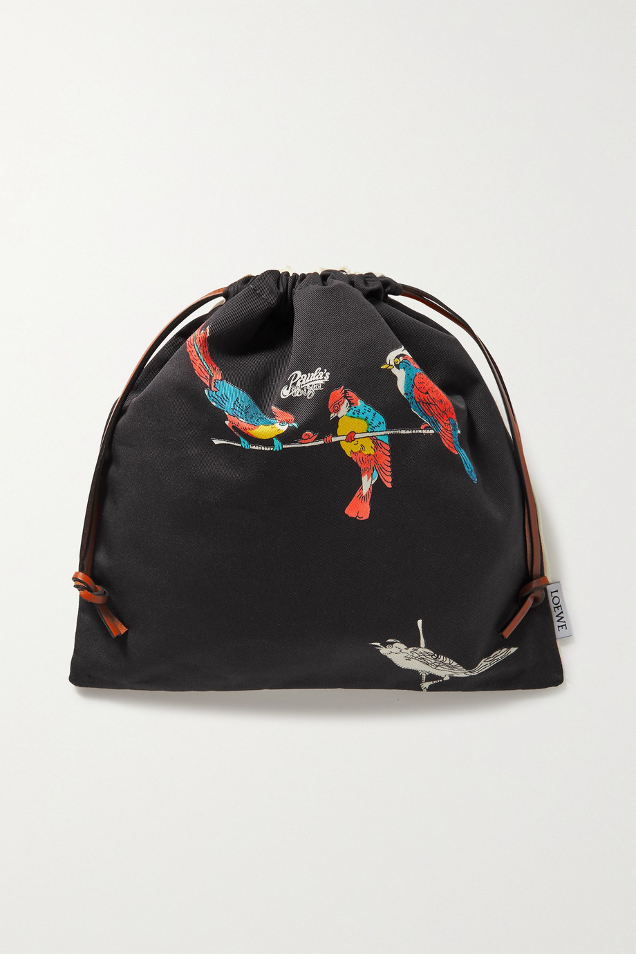 Loewe + Paula's Ibiza leather-trimmed printed cotton-canvas pouch