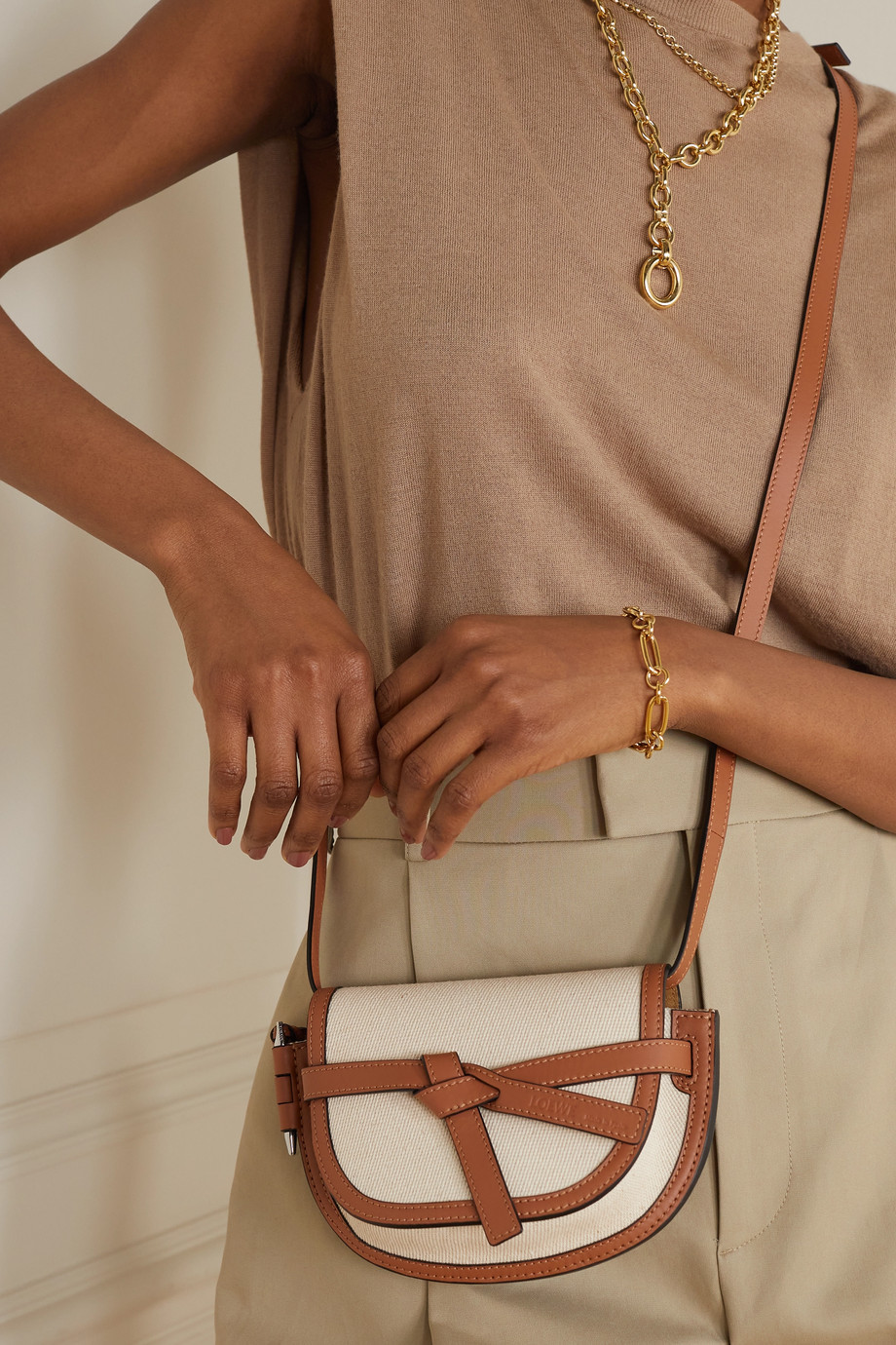 Loewe + Paula's Ibiza Gate mini cotton-canvas and leather shoulder bag