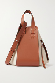 Loewe Hammock small paneled leather and canvas tote