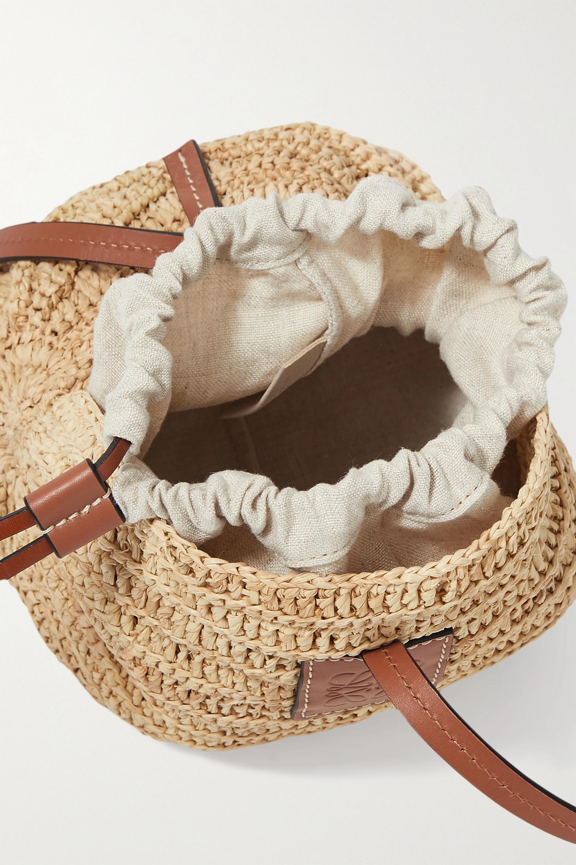 Loewe + Paula's Ibiza Moon Shell leather-trimmed raffia and hemp shoulder bag