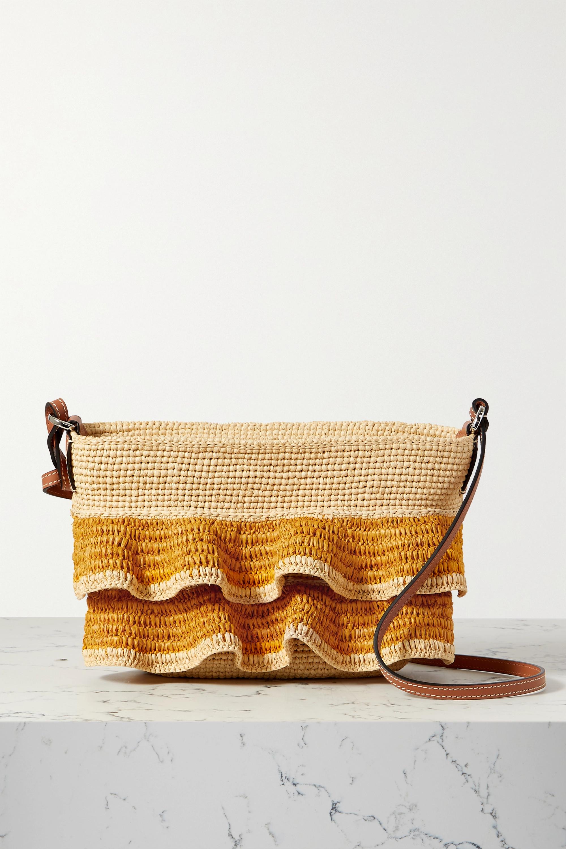 Loewe + Paula's Ibiza Pochette ruffled raffia shoulder bag