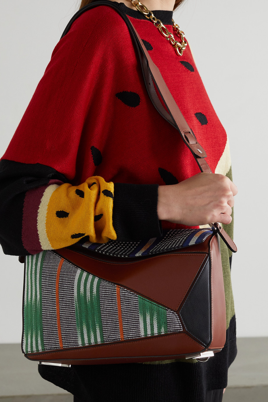 Loewe Sac porté épaule patchwork en cuir et en toile Puzzle Craft x Paula's Ibiza