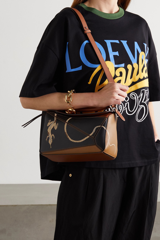 Loewe + Paula's Ibiza Puzzle kleine Schultertasche aus Leder mit Print in Colour-Block-Optik