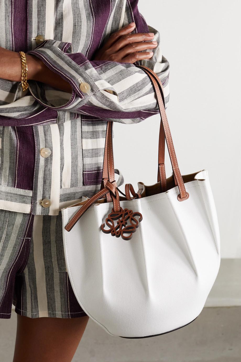 Loewe + Paula's Ibiza Shell small leather-trimmed denim tote