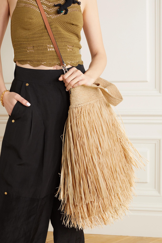 Loewe + Paula's Ibiza Slit Tote aus Raffiabast mit Lederbesätzen und Fransen