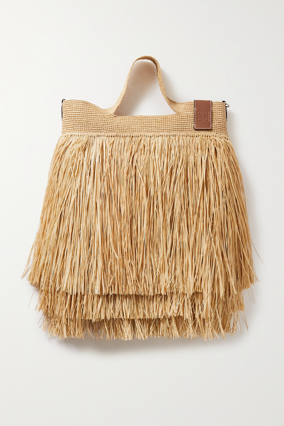 Loewe + Paula's Ibiza Slit leather-trimmed fringed raffia tote