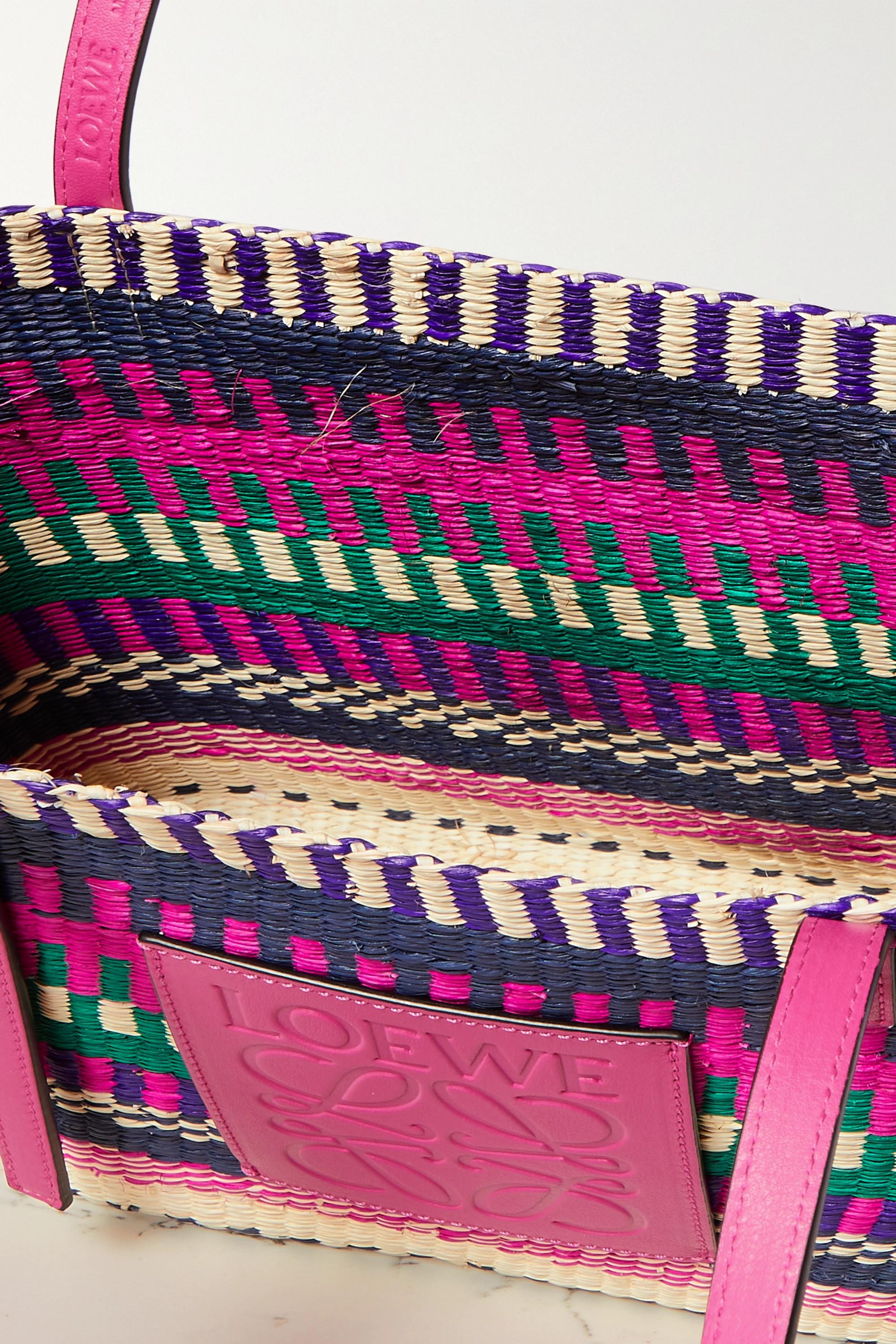 Loewe + Paula's Ibiza Square Basket leather-trimmed woven raffia tote