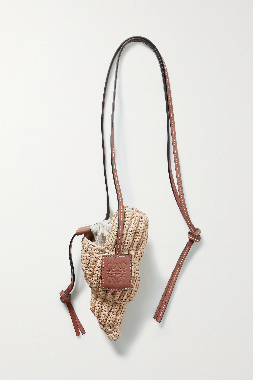 Loewe - + Paula's Ibiza Tulip Shell leather-trimmed raffia shoulder bag