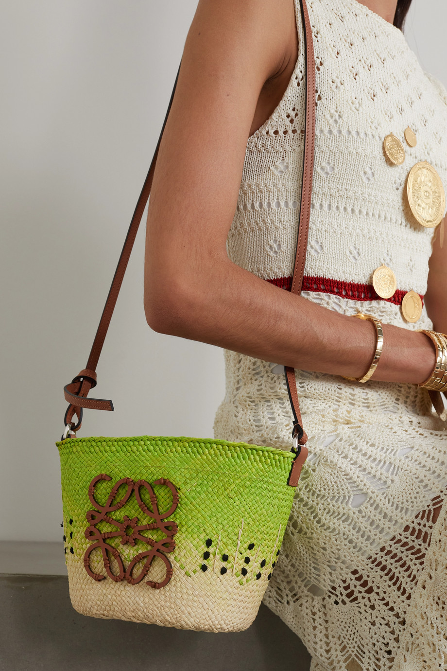 Loewe + Paula's Ibiza Pochette leather-trimmed raffia shoulder bag