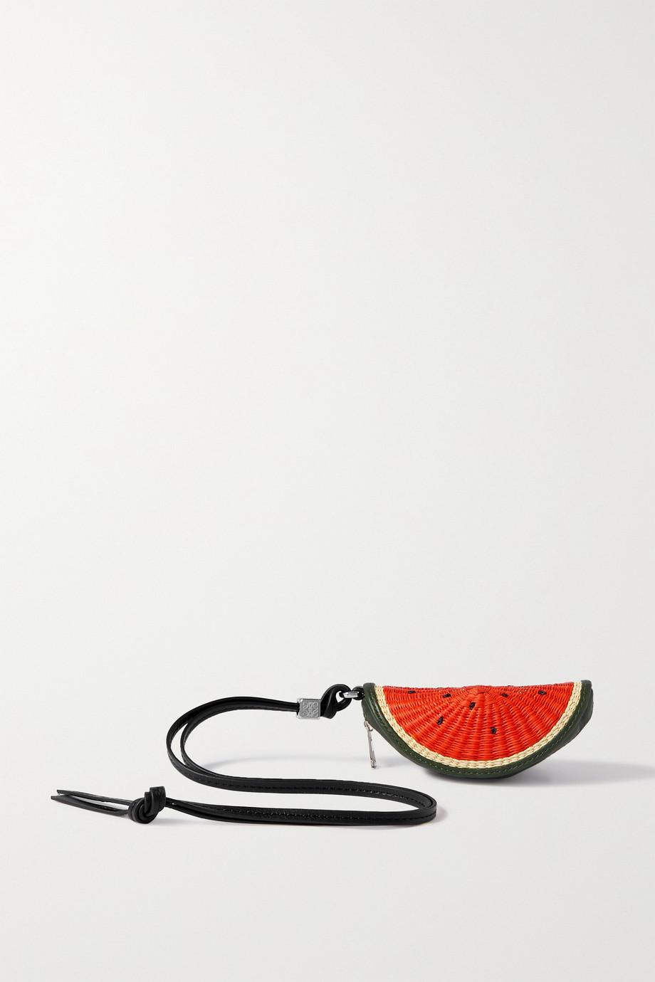 Loewe + Paula's Ibiza leather and raffia coin purse