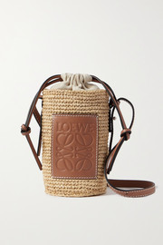 Loewe + Paula's Ibiza leather-trimmed woven raffia and hemp bucket bag
