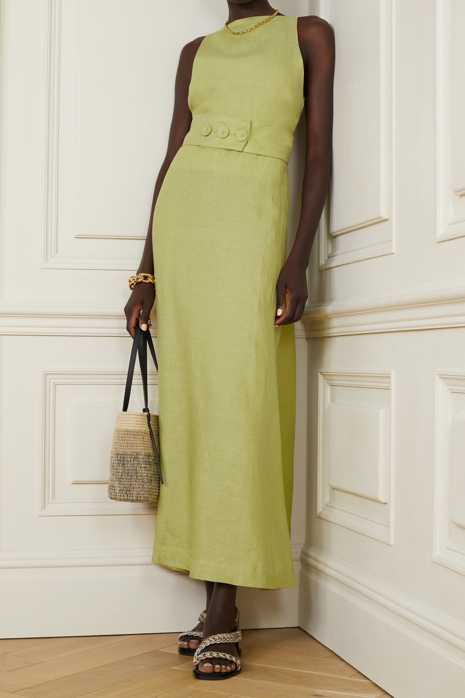 BONDI BORN Ava belted linen maxi dress