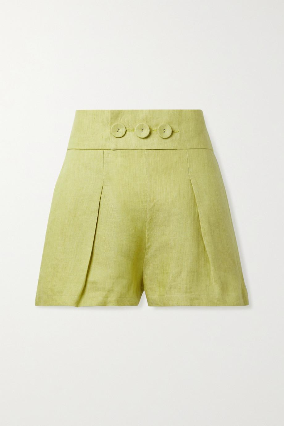 BONDI BORN Millicent belted linen shorts