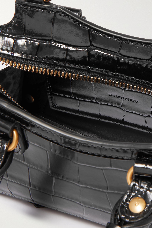 Balenciaga Sac à main en cuir effet croco Neo Classic City Nano