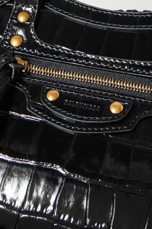 Balenciaga Sac à main en cuir verni effet croco Neo Classic City Mini