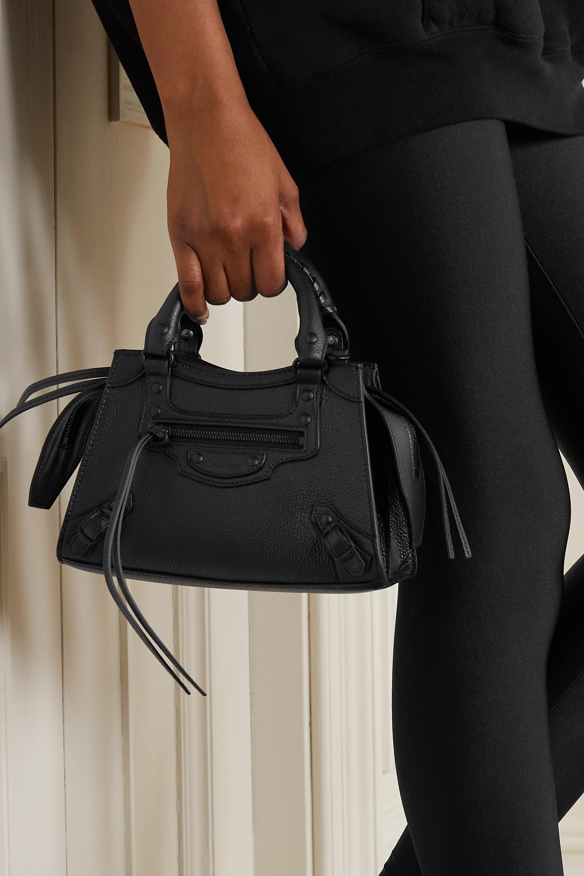 Balenciaga Sac à main en cuir texturé Neo Classic City Mini