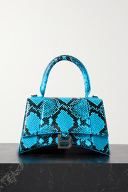 Balenciaga Hourglass small python-effect leather tote