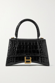Balenciaga Hourglass small glossed croc-effect leather tote