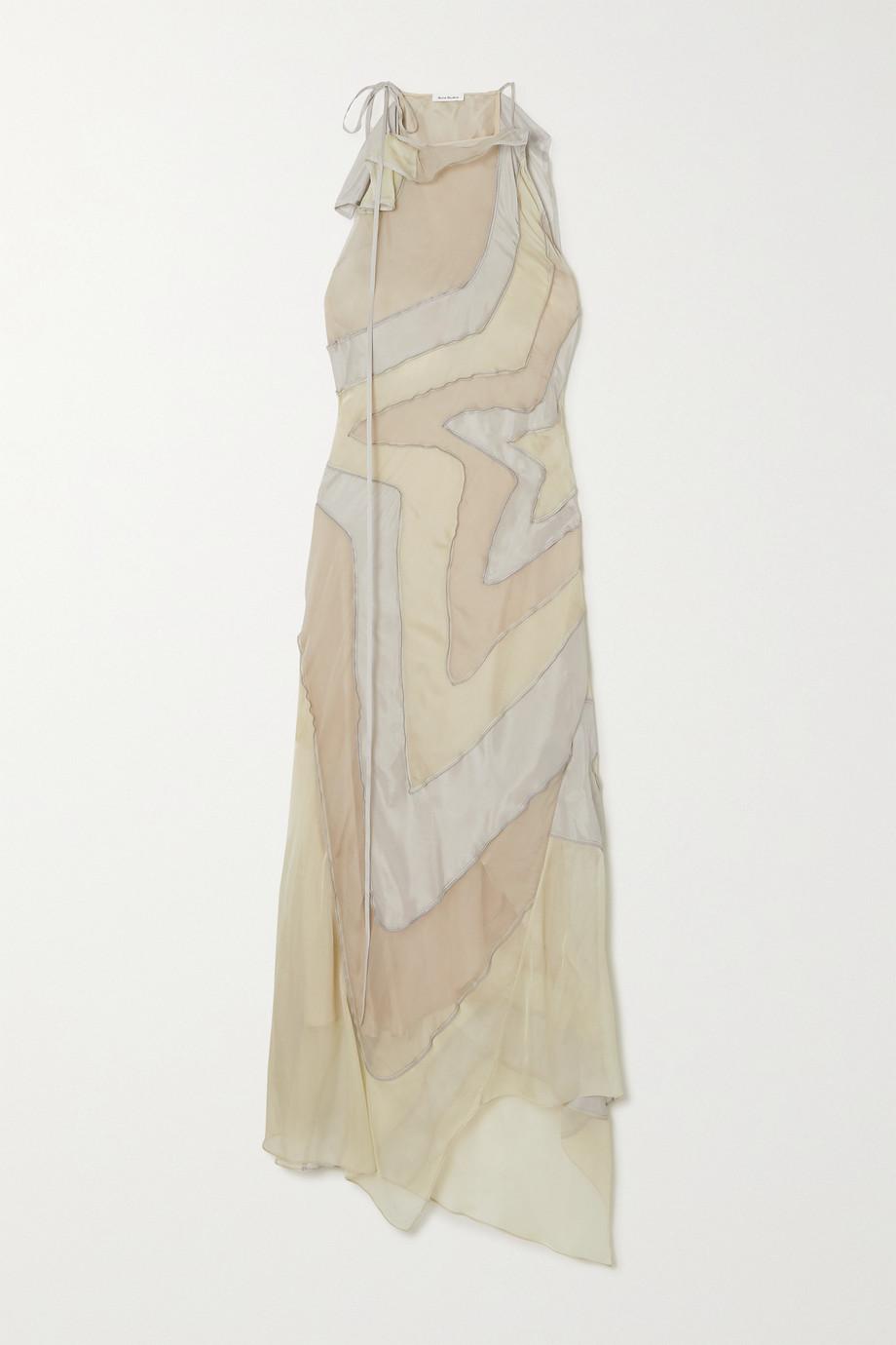 Acne Studios Asymmetric paneled silk-habotai maxi dress