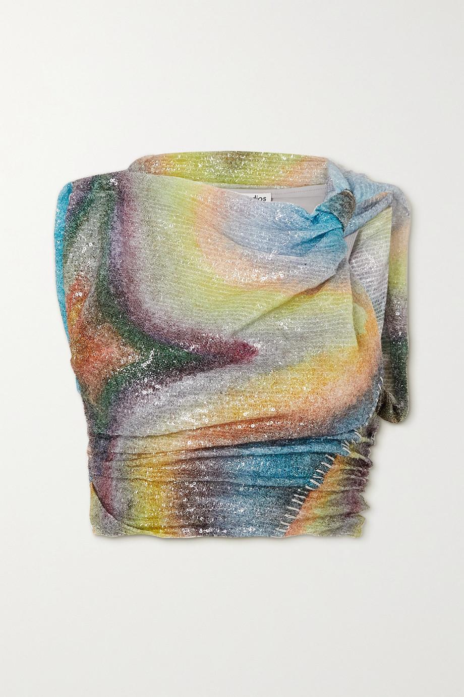 Acne Studios Haut en mailles stretch imprimées à sequins et à fronces