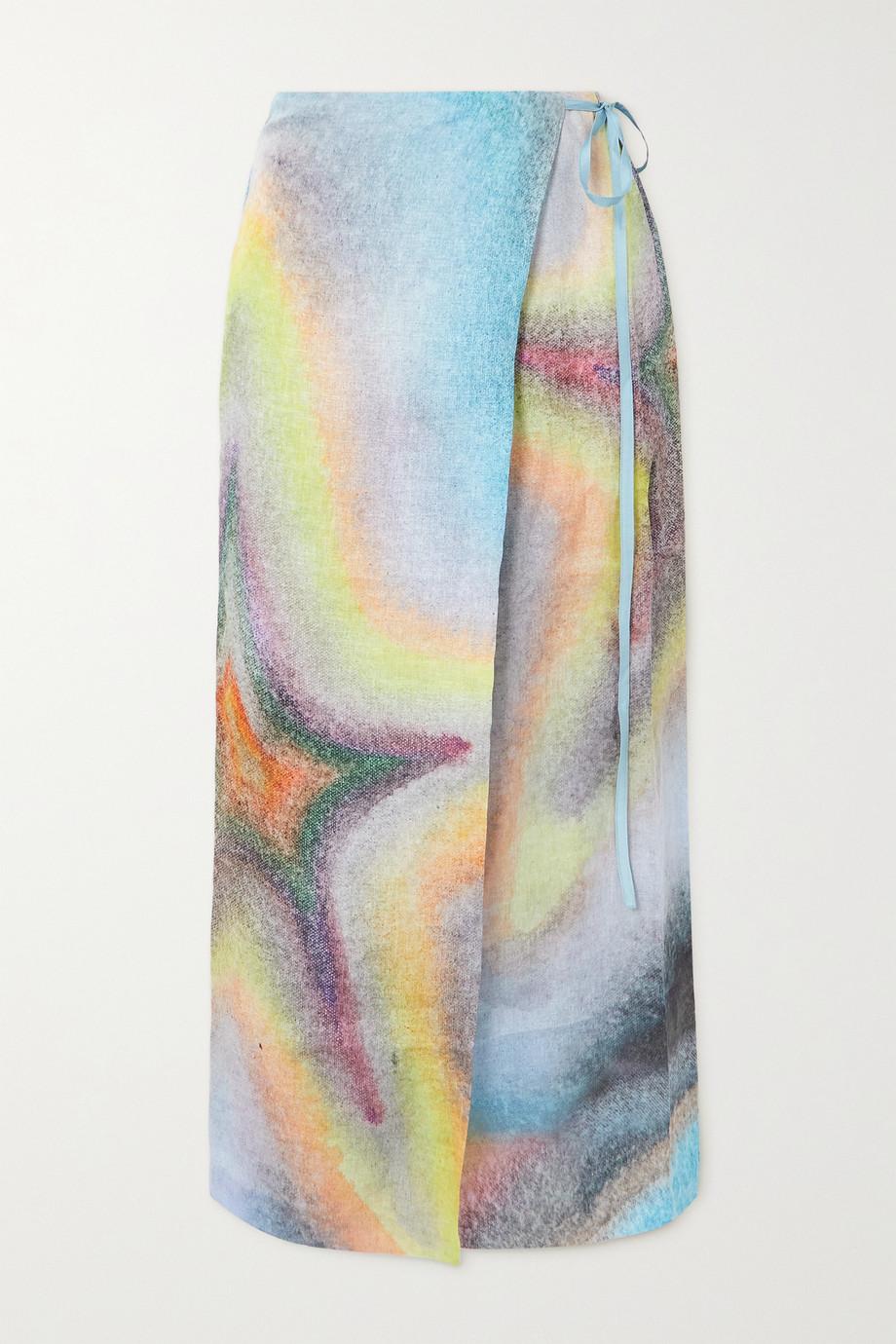 Acne Studios Printed linen wrap midi skirt